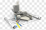 Сlipart Construction Blueprint Built Structure Architecture Building Activity 3d cut out BillionPhotos