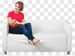 Сlipart Reading Book Sofa Women People photo cut out BillionPhotos