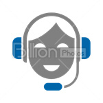 Сlipart Support Woman Headphones Microphone Help vector icon cut out BillionPhotos