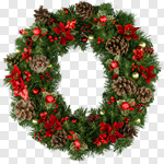 Сlipart Wreath Christmas Christmas Decoration Holiday Poinsettia photo cut out BillionPhotos