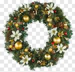 Сlipart Wreath Christmas Christmas Decoration Holiday Poinsettia photo cut out BillionPhotos