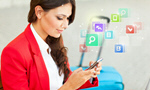 Сlipart Woman with digital tablet women business travel sitting   BillionPhotos
