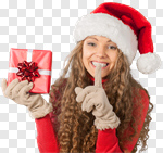 Сlipart Christmas Gift Women Shopping Winter photo cut out BillionPhotos