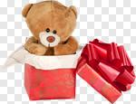Сlipart Toy Teddy Bear Christmas Gift Box photo cut out BillionPhotos
