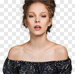 Сlipart Human Face Women Beauty Fashion Model Black photo cut out BillionPhotos