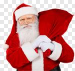 Сlipart Santa Claus Christmas Bag Sack White Background photo cut out BillionPhotos