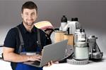 Сlipart Mechanic working on laptop car part auto new   BillionPhotos