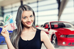 Сlipart Woman snow currency on car background Currency Women Holding Paper Currency   BillionPhotos