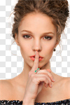Сlipart Finger on Lips Silence Women Whispering Sensuality photo cut out BillionPhotos
