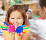 Сlipart Little girl with colorful painted hands on background classroom kindergarten play preschooler   BillionPhotos