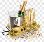 Сlipart New Year's Eve Champagne Party Party Horn Blower Hat photo cut out BillionPhotos