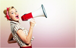 Сlipart Megaphone Women Shouting Screaming Pin-Up Girl   BillionPhotos