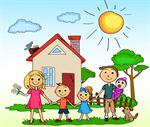Сlipart Family Child House Cartoon Drawing vector  BillionPhotos