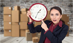 Сlipart frightened woman with clock Moving Office Stack Moving House Cardboard Box   BillionPhotos