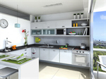 Сlipart kitchen white stove island contemporary photo  BillionPhotos