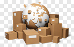 Сlipart Box Merchandise Freight Transportation Distribution Warehouse Globe 3d cut out BillionPhotos