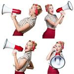 Сlipart Megaphone Women Shouting Screaming Pin-Up Girl   BillionPhotos