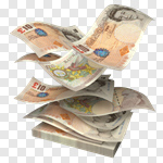 Сlipart British Currency Pound Symbol Currency Falling Wealth 3d cut out BillionPhotos