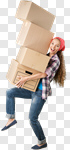 Сlipart Moving House Box Moving Office Women Picking Up photo cut out BillionPhotos
