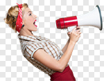 Сlipart Megaphone Women Shouting Screaming Pin-Up Girl photo cut out BillionPhotos