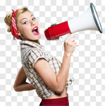 Сlipart Woman with loudspeaker Megaphone Women Shouting Screaming photo cut out BillionPhotos