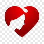 Сlipart Women Heart Shape Human Face Silhouette Human Hair vector cut out BillionPhotos
