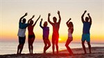 Сlipart sunset youth group friends leisure photo  BillionPhotos
