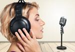 Сlipart Woman with headphones and microphone microphone radio headphones retro   BillionPhotos