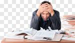 Сlipart Emotional Stress Working Occupation Depression Paperwork photo cut out BillionPhotos