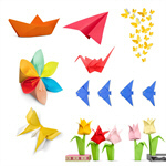 Сlipart origami red yellow isolated decoration   BillionPhotos