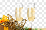 Сlipart Two Champagne Glasses new year holiday drink photo cut out BillionPhotos