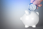 Сlipart Human hand holding clock and piggy bank on table Time Savings Time is Money Clock   BillionPhotos