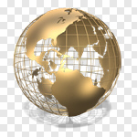 Сlipart Globe Earth Sphere Metal Three-dimensional Shape 3d cut out BillionPhotos