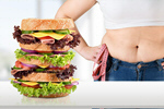Сlipart Fat woman measuring her stomach and sandwich on table fat overweight diet stomach   BillionPhotos