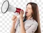 Сlipart megaphone speaking public woman news photo cut out BillionPhotos