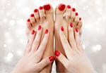 Сlipart beautiful red pedicure spa closeup hands pedicure   BillionPhotos