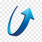 Сlipart Arrow Sign Three-dimensional Shape Turning Motion Blue vector cut out BillionPhotos