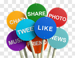 Сlipart Social Networking Twitter Marketing Interface Icons Sharing 3d cut out BillionPhotos